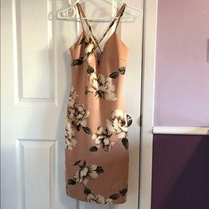 Pink Flower Bodycon Dress